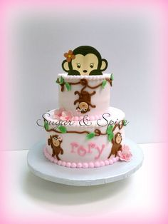 For a monkey themed baby shower. Iced in buttercream with fondant details.