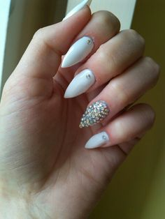 White gel nails with rhinestones