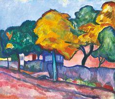 Vilmos Perlrott-Csaba - Autumn Street in Nagybánya, 1909 Matisse, Impressionist, Abstract Art, Utca, Cities, Buildings, Landscapes, Houses, Paintings