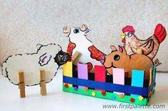 Clothespin Farm Animals (Farm Theme May) Farm Animal Crafts, Farm Crafts, Animal Crafts For Kids, Animals For Kids, Farm Animals, Kids Crafts, Farm Activities, Animal Activities, Ideas Diorama