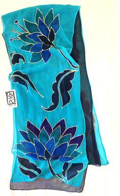 Silk Scarf Hand Painted Reversible Peacock por SilkScarvesTakuyo