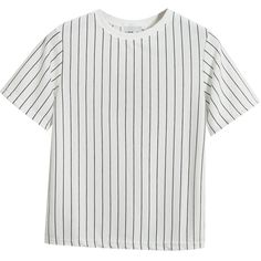 Chicnova Fashion Straight Stripes Print Short Sleeves T-shirt (153.190 IDR) ❤ liked on Polyvore featuring tops, t-shirts, shirts, tees, white shirt, polyester t shirts, striped shirt, white short sleeve shirt and stripe shirt