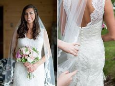 Door County wedding: Beautiful bride in a lace dress and long veil at @gordonlodgedc | Flowers by @bfloraldesign | Photo by Jason Mann Photography 920-246-8106 | www.JMannPhoto.com