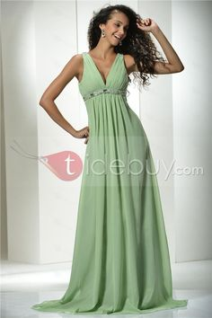 Graceful A-Line Floor-length V-Neck Prom/Evening Dress.