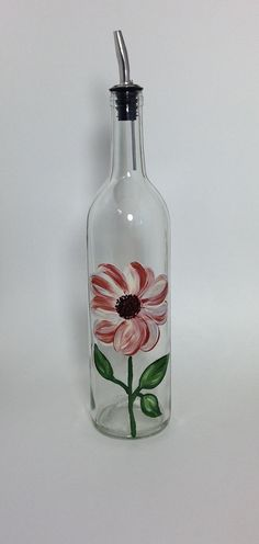 Up Cycled Wine Bottle for Olive Oil with Hand Painted Ivory and Copper Wild Rose