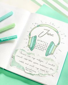 Bullet journal monthly cover page,  June cover page,  headphones drawing.  | @landljourney