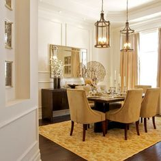 Love the color palette in this dining room