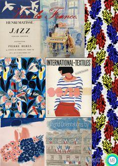 "Inspiration Information  © Mirella Bruno Print Trend Colour Designs 2016. ""Vive La France.""  SS/18. Print and Trend Design Orientations."