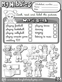 Hobbies - Worksheet 1 (B&W version)
