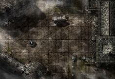 Cursed Square, a printable battle map for Dungeons and Dragons / D&D, Pathfinder and other tabletop RPGs. Tags: town, square, undead, graveyard, fog, house, temple, horror, encounter, wagon, well, crypt, print