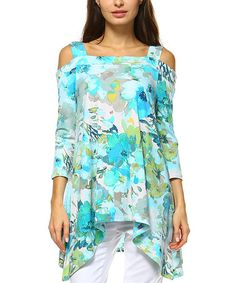 Look at this #zulilyfind! Turquoise Floral Cutout Sidetail Top #zulilyfinds