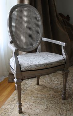 French silver leaf wood arm chair