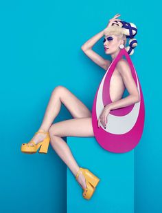 Eccentric Pop Art Editorials : Aline Weber. Aline Weber and Carmelita star in 'Eat My Melissa', a pop art themed fashion story that is lensed for the pages of Plastic Dreams magazine. The models are captured by photographer Paulo Vainer's lens while posing in a vibrant studio setting of colored vignettes.