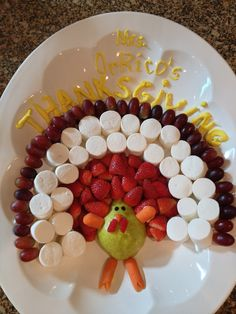 Healthy snack for Thanksgiving! Switch the marshmallows for bananas! Thanksgiving Snacks, Healthy Thanksgiving Recipes, Gluten Free Thanksgiving, Thanksgiving Decorations, Holiday Recipes, Holiday Ideas, Kid Snacks, Healthy Snacks For Kids, Classroom Projects