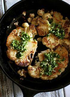 Grilled Cauliflower with basil garlic