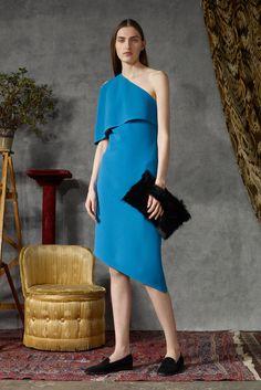 Osman   Pre-Fall 2015   30 Blue one shoulder midi dress with asymmetrical hem