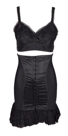 0d995a50d7 F W 1991 Dolce   Gabbana Pin-Up Black High Waist Corset Skirt   Lace Bra Top