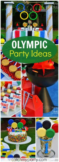 What a fantastic Olympics themed party! Check it out!  See more party ideas at Catchmyparty.com!