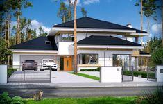 Dom z widokiem 2 Duplex House Plans, Dream House Plans, Modern House Plans, Modern House Design, My Dream Home, Villas, Amazing Buildings, Dream House Exterior, Facade House