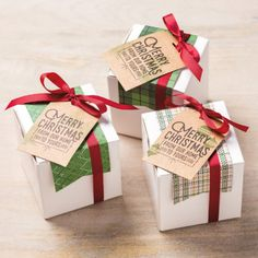 Christmas Gifts Box Ideas - White Gift Boxes Stampin Up Christmas Gift Bags, Stampin Up Christmas, Christmas Treats, Christmas Cards, Christmas Scrapbook, White Christmas, Christmas Holidays, Cookie Wedding Favors, Gift Box Packaging