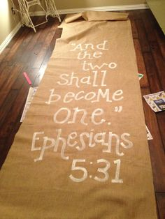 Burlap Aisle Runner With Verse And The Two Shall Become One Love