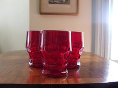 Anchor Hocking  Red Georgian 8 oz Glassware by AspenVintage, $25.00