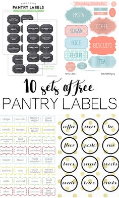 10 different sets of free printable pantry labels, perfect for organizing any style of kitchen.