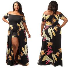 Hawaiian plus size maxi dress with shorts attached. Available in size 1x 2x 3x www.niasboutique.ca