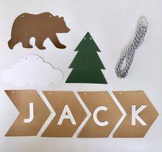 DIY custom woodland name banner camp bear banner kit Camping Nursery, Name Banners, Baby Boy Nurseries, Woodland, Baby Kids, Babies, Bear, Kit, Unique Jewelry