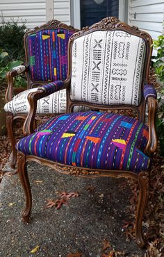 African Mudcloth Chairs... transformed! Textile and chairs by http://www.KufriLifeFabrics.com