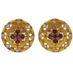Buccellati Ruby Diamond Gold Earrings