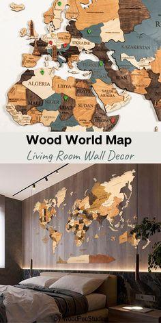 Wood world map wall art by WoodPecStudio. 3d wood world map World map decor World maps