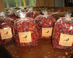Bulk Scented Rose Hips Potpourri Primitive Packaged and Labeled.   You'll receive 15oz of whole rosehips scented your fragrance choice