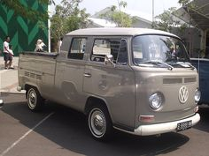 Love this smooth grey, twin cab 70s Volks Wagon bus.