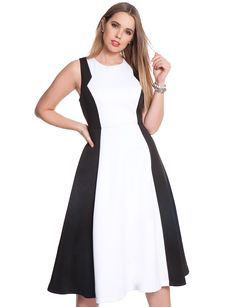 Plus Size Fashion - Colorblock Full Midi Dress $178 PLUS 50% OFF w/ Promo Code SPLURGE | Earn Cashback when you shop at ELLOQUII.com! Sign up with DubLi for FREE at www.downrightdealz.net and GET PAID for all your online shopping!