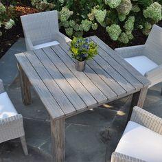 Kingsley Bate Paris Dining Armchair Cushioned Teak And Wicker Outdoor Furniture Deck