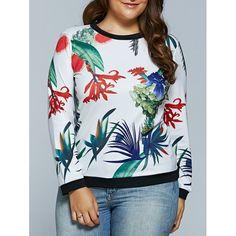 0f51e2df288e60 Plus size white tropical plant print long sleeve t-shirt shop online from  Nextmia.