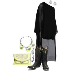 """Neon Sign"" by rodeo-chic on Polyvore, Cowboy Boots by @oldgringoboots"