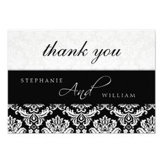 DealsBlack and White Damask Wedding Thank You Card Invitationonline after you search a lot for where to buy