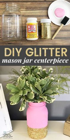 Want a fun and festive DIY Mason jar centerpiece idea? This Glitter Mason Jar Centerpiece is super simple to make, and it is the perfect way to add a little sparkle to any table. It would make a beautiful Mason jar wedding centerpiece or just a large Mason jar flower centerpiece for your dining table. Feel free to customize this homemade centerpiece by choosing your favorite paint and glitter colors. #masonjarcrafts #masonjarcenterpieces #masonjarideas #masonjargifts #simplebeautydiy