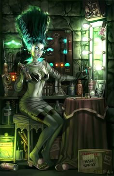 The Bride of Frankenstein as pin-up girl is a favorite subject for cartoonists and tattoo artists, but few illustrators are as accomplished as Aly Fell of Manchester, UK, whose sumptuous art is of a tradition that tracks back directly to the classic glamour artists like Gil Elvgren and Alberto Vargas.