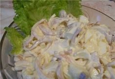 Squid salad with melted cheese ⋆ Recipes with photos Seafood Soup Recipes, Seafood Risotto, Squid Recipes, Seafood Lasagna, Seafood Bisque, Seafood Salad, Seafood Party, Bacon Wrapped Appetizers, Cheese Appetizers