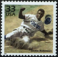 Jackie Robinson Retrospective - The U. Postal Service honored Jackie Robinson with this commemorative stamp in Jackie Robinson, Negro League Baseball, Commemorative Stamps, Black History Facts, Sports Figures, African American History, American Art, Stamp Collecting, Postage Stamps