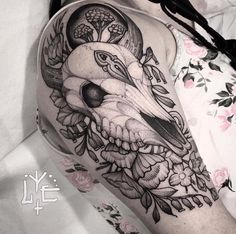 olio.tattoo Skull Flower Tattoo by Lawrence from Lake Monster Tattoo & Body Piercing - South Lake Tahoe, CA #skull #flower -- More at: https://olio.tattoo/tattoo-images/mentions:skull