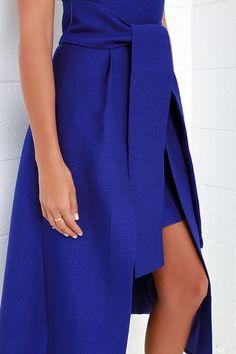 Cameo Wake Me Cobalt Blue Strapless Midi Dress at Lulus.com!