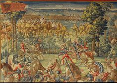 Orley,Bernaert (1492-1542) Seven large tapestries illustrate the Battle of Pavia in 1525,in which Emperor Charles V.defeated French King Francois I.  The imperial flag (left) and Swiss mercenaries in the background.