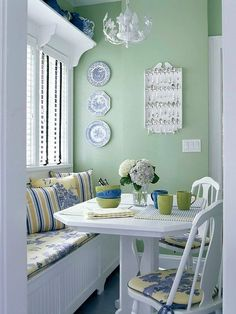Window Seat in kitchen, like this green color on the wall.