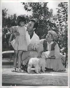 1955 Press Photo Dinah Shore George And Daughter Missy With Poodles At Home