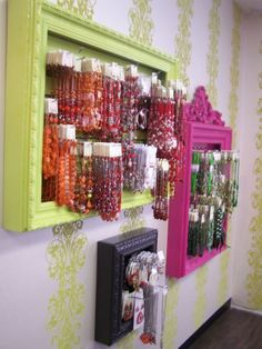 Outstanding way to display #jewelry pieces! Dog collars, etc. love the #frames and the focal wall!