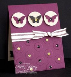 SU Bitty Butterfly Punch, Lge Polka Dot E F *and video - Dressing up a simple card with sparkle and shine  (June 24, 2015)  ·